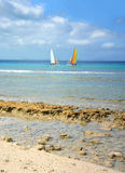 Two sailboats in the Atlantic Ocean Royalty Free Stock Photo