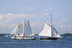 Two Sailboats Greeting Each Other Stock Photos