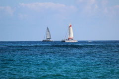 Two Sailboats on Horizon Stock Photography