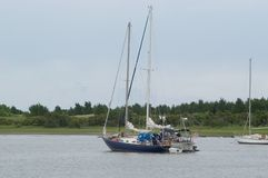Two Sailboats In Harbor Stock Photos