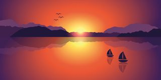 Two sailboats on a lake at a romantic sunset stock illustration