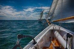 Two sailboats racing Stock Photography