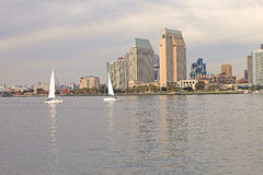 Two sailboats, San Diego California.-2. Two sailboats crossing each other in San Diego bay California Stock Photo