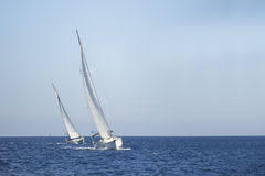 Two sailboats on the sea. Sailing. Royalty Free Stock Photography