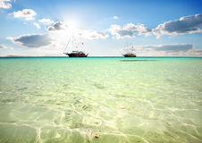 Two sailboats in sea Royalty Free Stock Photo