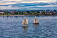 Two Sailboats at Sunset in Portland royalty free stock image