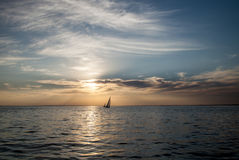 Two sailboats. At sunset, sailing boats stock image