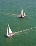 Two sailing boats stock image