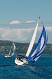 Two sailing boats on the sea royalty free stock photos
