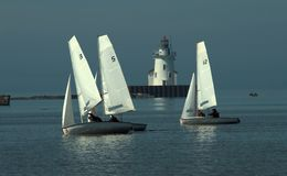 Two sailing students on a calm Lake Erie. royalty free stock photography