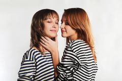 Two sailor girls Royalty Free Stock Photos
