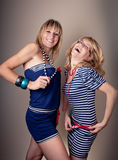 Two sailor girls have fun Royalty Free Stock Photography