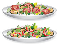Two salads. Vector illustration of a delicious salad Stock Photo