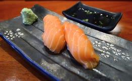The two salmon shushi Japanes Food Stock Photos