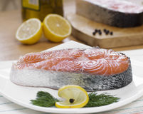 Two salmon steaks Royalty Free Stock Photos
