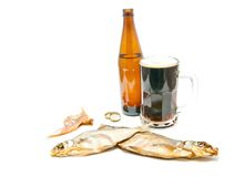 Two salted fishes and beer Stock Photography