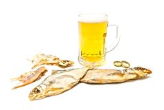 Two salty fishes and beer on white Royalty Free Stock Photo