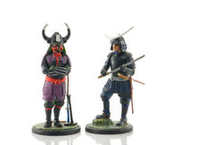 Two Samurai Generals. Two hand-painted lead samurai generals Stock Photography