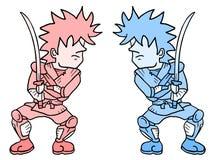 Two samurais. Creative design of two samurais Stock Images