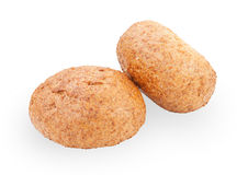 Two sandwich bun with sesame seeds isolated on white Royalty Free Stock Photo