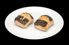 Two sandwich buns with poppy Royalty Free Stock Image