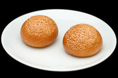 Two sandwich buns with sesame Stock Photography