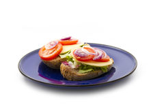 Two sandwich on plate Stock Photo