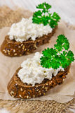 Two sandwich from rye bread Royalty Free Stock Photography