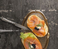 Two sandwich with salmon and black caviar Royalty Free Stock Photos