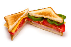 Two Sandwiches. With Ham, Tomato, Bell Pepper and Cheese isolated on white Royalty Free Stock Photos