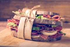 Two sandwiches with bacon and fresh vegetables Stock Images