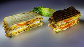 Two sandwiches on black and white bread with beef and turkey royalty free stock photo