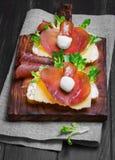 Two sandwiches bruschetta Royalty Free Stock Photos