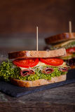 Two Sandwiches with cereals bread with lettuce,ham Royalty Free Stock Photography