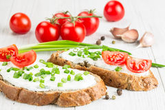 Two sandwiches with cream cheese Royalty Free Stock Image
