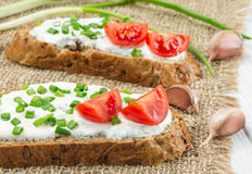 Two sandwiches with cream cheese Royalty Free Stock Photo