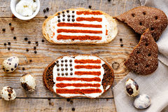 Two sandwiches with image of american flag. Stock Image