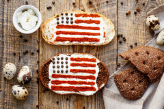Two sandwiches with image of american flag. Royalty Free Stock Photography