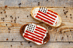 Two sandwiches with image of american flag. Royalty Free Stock Image