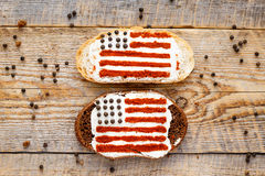 Two sandwiches with image of american flag. Royalty Free Stock Images