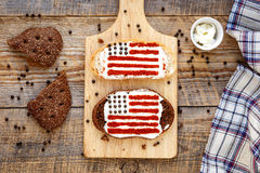 Two sandwiches with image of american flag. Royalty Free Stock Photos