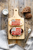 Two sandwiches with image of american flag. Stock Photography
