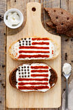 Two sandwiches with image of american flag. Stock Images