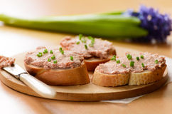 Two sandwiches with meat paste Stock Photo