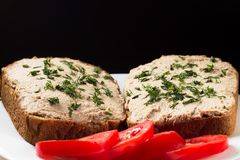 Two sandwiches with pate and tomatoes close up Royalty Free Stock Photos