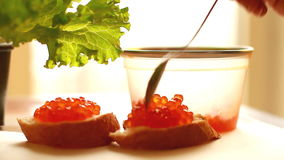 Two sandwiches with red caviar. Two sandwiches with the red caviar stock video footage