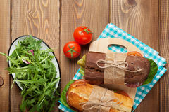 Two sandwiches with salad, ham, cheese Royalty Free Stock Images