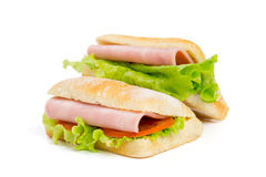 Two sandwiches with slice of ham Stock Images