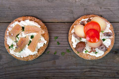 Two sandwiches with surstromming Stock Images