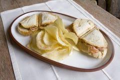 Two sandwichs & snacks. A pair of sandwichs plus snacks Stock Photos